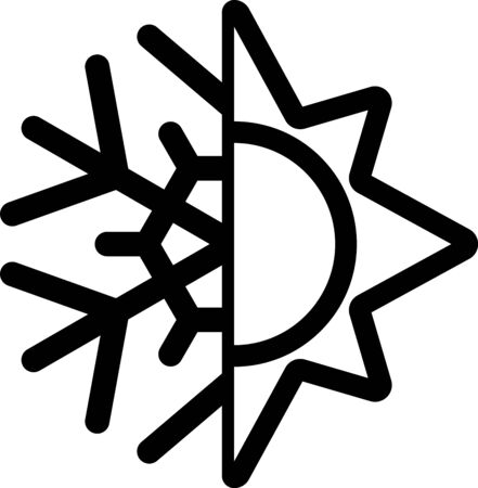 Black Hot and cold symbol. Sun and snowflake icon isolated on white background. Winter and summer symbol. Vector Illustration