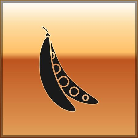 Black Kidney beans icon isolated on gold background. Vector Illustration