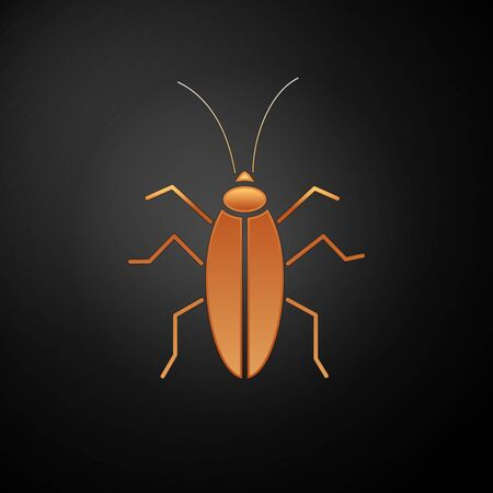 Gold Cockroach icon isolated on black background. Vector Illustration