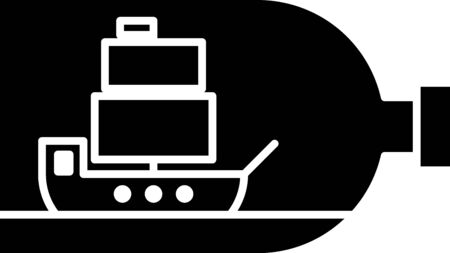 Black Glass bottle with ship inside icon isolated on white background. Miniature model of marine vessel. Hobby and sea theme. Vector Illustration Stock Illustratie