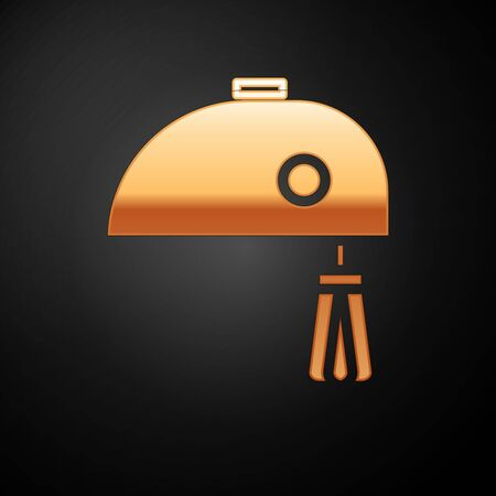 Gold Electric mixer icon isolated on black background. Kitchen blender. Vector Illustration