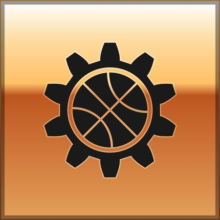 Black Planning strategy concept icon isolated on gold background. Basketball cup formation and tactic. Vector Illustration