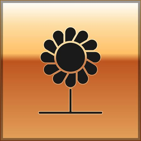 Black Flower icon isolated on gold background. Vector Illustration