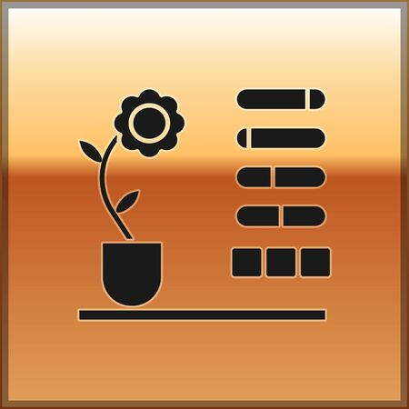 Black Flower status icon isolated on gold background. Vector Illustration