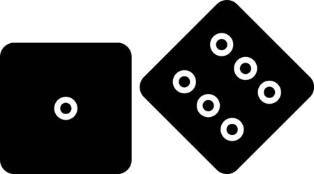 Black Game dice icon isolated on white background. Casino gambling. Vector Illustration
