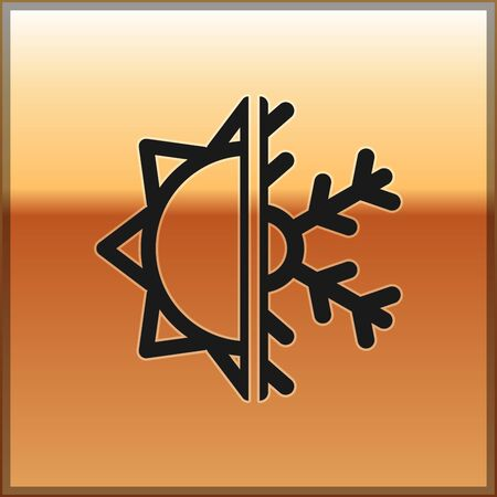Black Hot and cold symbol. Sun and snowflake icon isolated on gold background. Winter and summer symbol. Vector Illustration