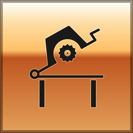 Black Table saw for woodwork icon isolated on gold background. Power saw bench. Vector Illustration