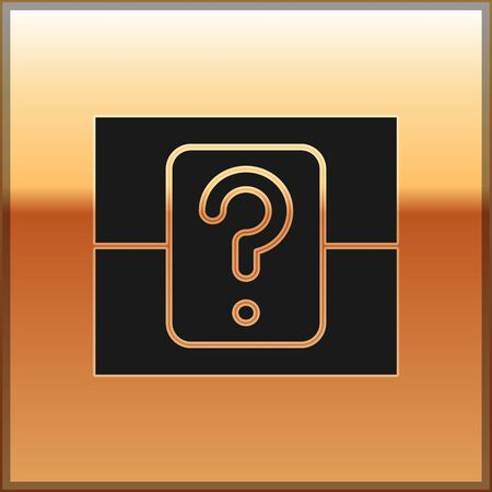 Black Mystery box or random loot box for games icon isolated on gold background. Question box. Vector Illustration