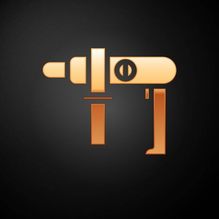 Gold Electric drill machine icon isolated on black background. Repair tool. Vector Illustration