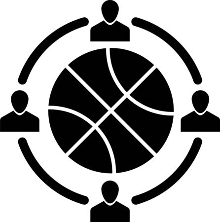 Horloge noire avec ballon de basket à l'intérieur de l'icône isolé sur fond blanc. L'heure du basket. Sport et entraînement. Illustration vectorielle Vecteurs