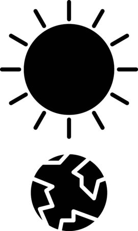 Black Solstice icon isolated on white background. Vector Illustration