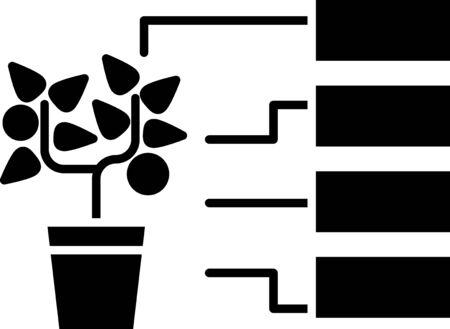 Black Flower analysis icon isolated on white background. Vector Illustration