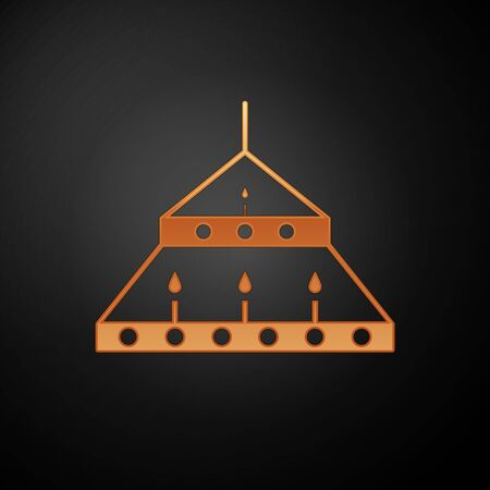 Gold Massive steel chandelier with candles in medieval icon isolated on black background. Vector Illustration Ilustração