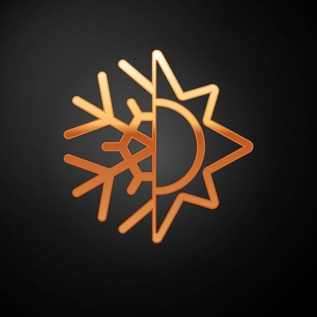 Gold Hot and cold symbol. Sun and snowflake icon isolated on black background. Winter and summer symbol. Vector Illustration