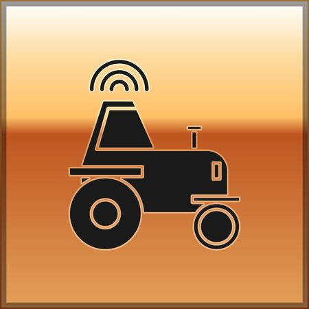 Black Self driving wireless tractor on a smart farm icon isolated on gold background. Smart agriculture implement element. Vector Illustration