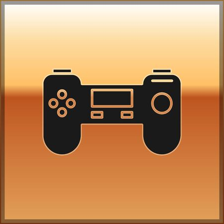 Black Gamepad icon isolated on gold background. Game controller. Vector Illustration