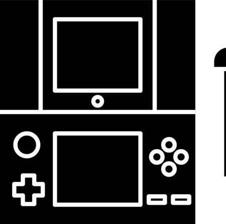 Black Portable video game console icon isolated on white background. Gamepad sign. Gaming concept. Vector Illustration