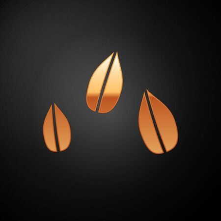 Gold Sesame seeds icon isolated on black background. Vector Illustration