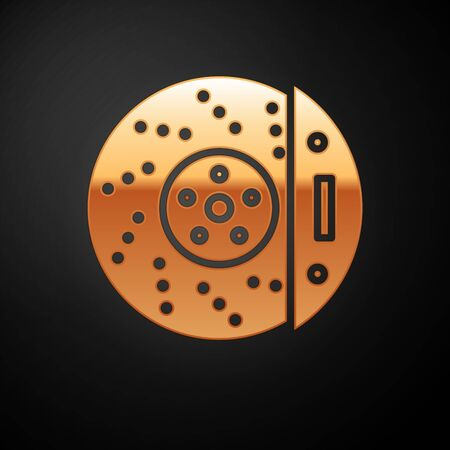 Gold Car brake disk with caliper icon isolated on black background. Vector Illustration Vectores