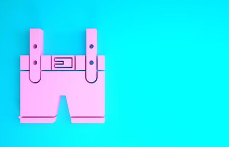 Pink Lederhosen icon isolated on blue background. Traditional bavarian clothing. Oktoberfest outfit. Pants with suspenders. Patrick day. Minimalism concept. 3d illustration 3D render