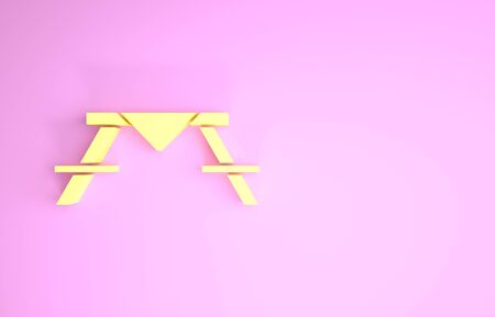 Yellow Picnic table with benches on either side of the table icon isolated on pink background. Minimalism concept. 3d illustration 3D render
