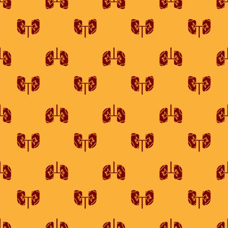 Red Lungs icon isolated seamless pattern on brown background. Vector Illustration