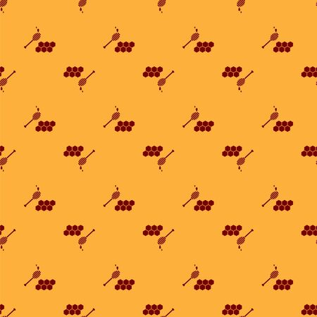 Red Honeycomb with honey dipper stickicon isolated seamless pattern on brown background. Honey ladle. Honey cells symbol. Sweet natural food. Vector Illustration