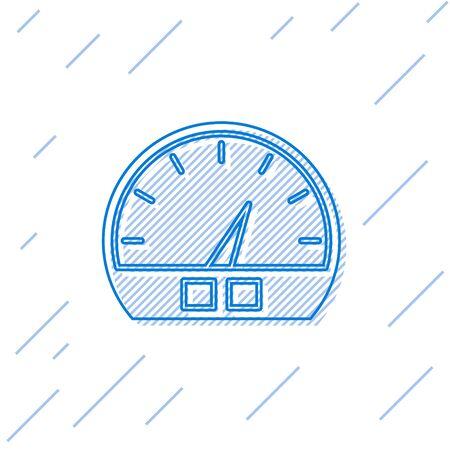 Blue line Speedometer icon isolated on white background. Vector Illustration Stock Illustratie