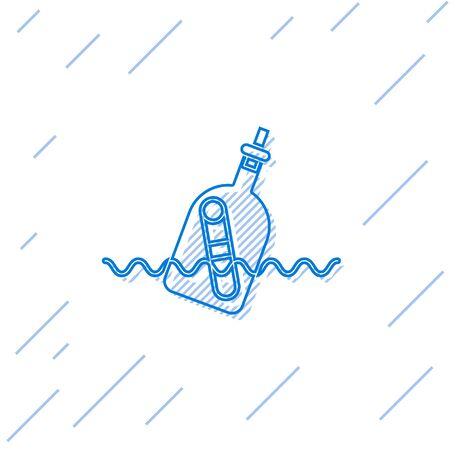 Blue line Glass bottle with a message in water icon isolated on white background. Letter in the bottle. Pirates symbol. Vector Illustration Vectores