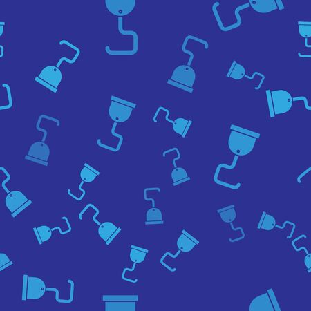 Blue Pirate hook icon isolated seamless pattern on blue background. Vector Illustration Vectores