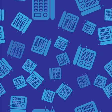 Blue Telephone icon isolated seamless pattern on blue background. Landline phone. Vector Illustration