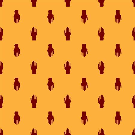 Red Hand with psoriasis or eczema icon isolated seamless pattern on brown background. Concept of human skin response to allergen or chronic body problem. Vector Illustration