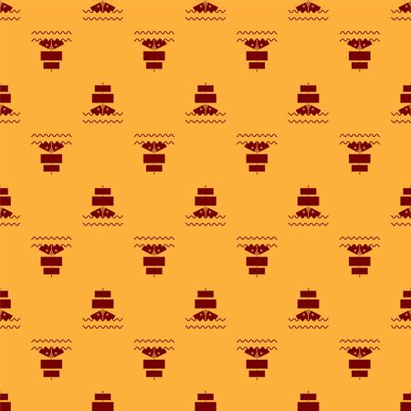 Red Ship icon isolated seamless pattern on brown background. Vector Illustration