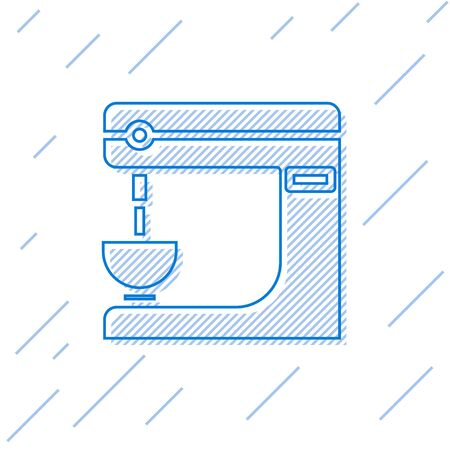 Blue line Electric mixer icon isolated on white background. Kitchen blender. Vector Illustration