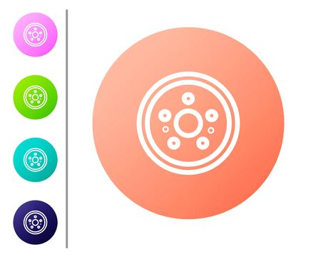 Coral Car brake disk icon isolated on white background. Set color icons. Vector Illustration