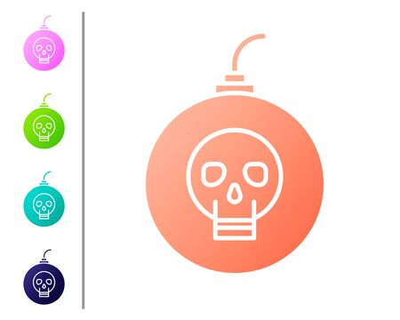 Coral Bomb ready to explode icon isolated on white background. Happy Halloween party. Set color icons. Vector Illustration