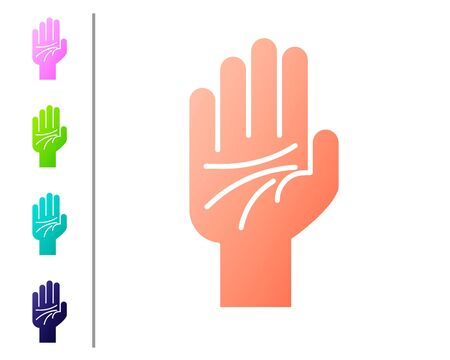 Coral Palmistry of the hand icon isolated on white background. Set color icons. Vector Illustration