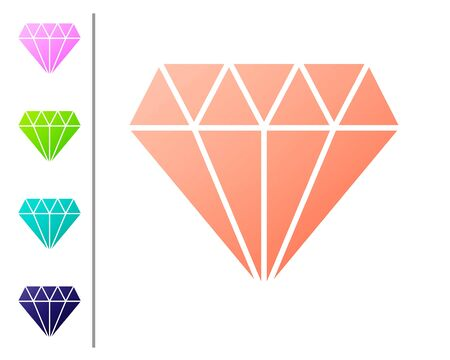 Coral Diamond icon isolated on white background. Jewelry symbol. Gem stone. Set color icons. Vector Illustration