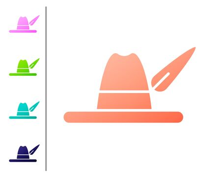Coral Oktoberfest hat icon isolated on white background. Hunter hat with feather. German hat. Set color icons. Vector Illustration