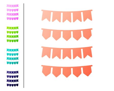 Coral Carnival garland with flags icon isolated on white background. Party pennants for birthday celebration, festival and fair decoration. Set color icons. Vector Illustration