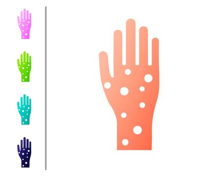 Coral Hand with psoriasis or eczema icon isolated on white background. Concept of human skin response to allergen or chronic body problem. Set color icons. Vector Illustration Illusztráció
