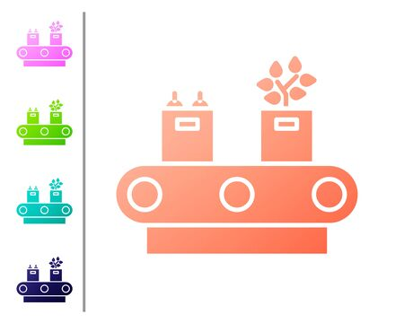 Coral Conveyor belt with cardboard box icon isolated on white background. Set color icons. Vector Illustration Illustration