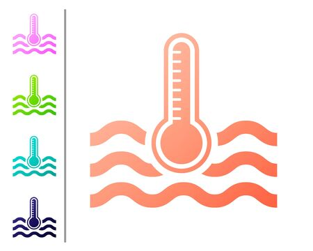 Coral Water thermometer measuring heat and cold icon isolated on white background. Thermometer equipment showing hot or cold weather. Set color icons. Vector Illustration