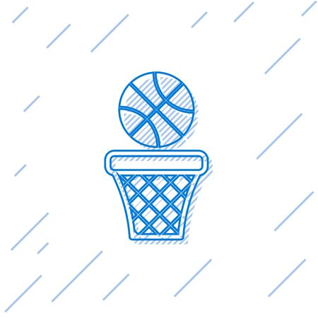 Blue line Basketball ball and basket icon isolated on white background. Ball in basketball hoop. Vector Illustration