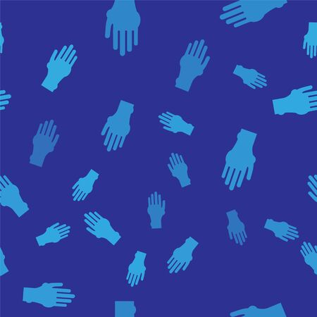 Blue Hand with psoriasis or eczema icon isolated seamless pattern on blue background. Concept of human skin response to allergen or chronic body problem. Vector Illustration