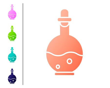 Coral Glass bottle with magic elixir icon isolated on white background. Computer game asset. Set color icons. Vector Illustration