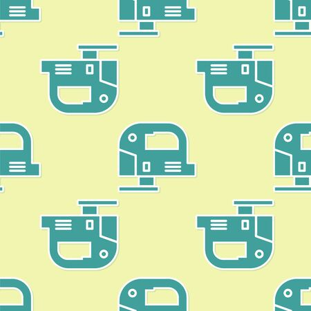 Green Electric jigsaw with steel sharp blade icon isolated seamless pattern on yellow background. Power tool for woodwork. Vector Illustration