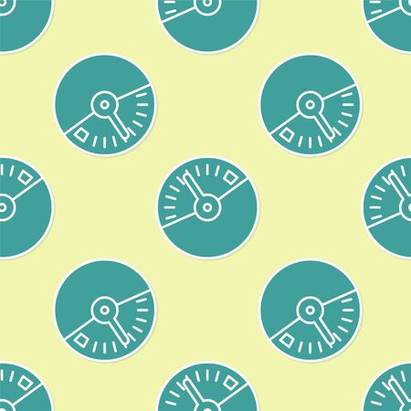 Green Speedometer icon isolated seamless pattern on yellow background. Vector Illustration