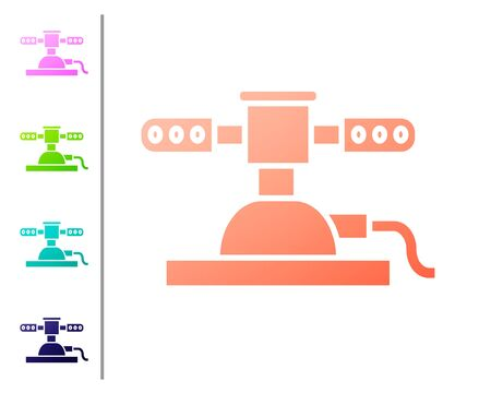 Coral Automatic irrigation sprinklers icon isolated on white background. Watering equipment. Garden element. Spray gun icon. Set color icons. Vector Illustration
