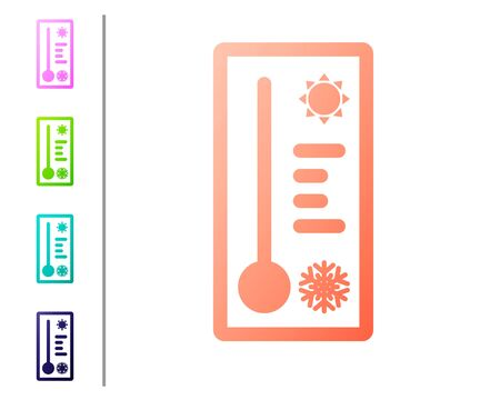 Coral Meteorology thermometer measuring heat and cold icon isolated on white background. Thermometer equipment showing hot or cold weather. Set color icons. Vector Illustration